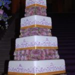 1033 Wedding BC Square Separated 4-tier 9-tier Freshflowers Roses Orange LD Base Border Purple Scroll