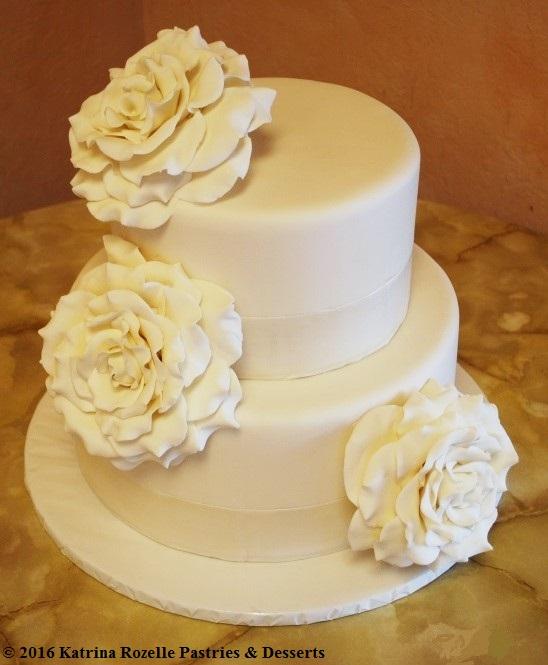 1238 Wedding Fondant Round 2-tier Neutral Handmade Roses White 1 ...