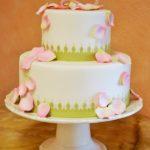 1240 Wedding Fondant Round 2-tier Petal Cascade Upright Monogram Special Cut Base Border Green Light Pink Stand