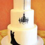 1259 Wedding Fondant Round 3-tier Chandelier Cutout Bride _ Groom Cutout Black White B_W