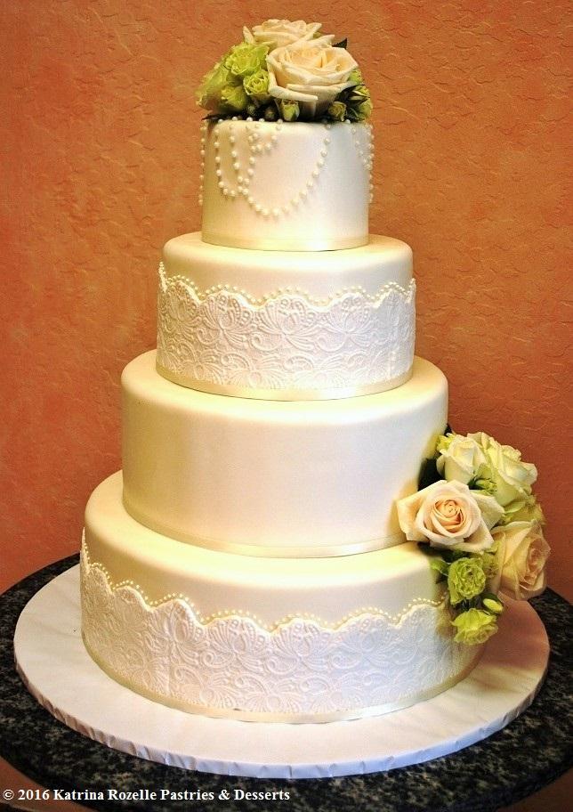 1325 Wedding Fondant Round 4-tier White Lace Freshflowers