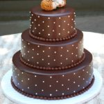 1421 Wedding Glazed Round 3-tier Chocolate Brown Swiss Dots Topper 3D Animal Hedgehogs