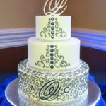 2300 Wedding BC round 3-tier buttons gray piping blue monogram bling baseborders