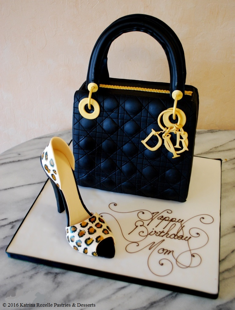 2345 SpO fondant customshaped black gold dior purse leopard shoe birthday woman