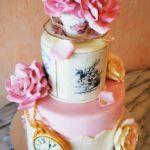 2463 Wedding Fondant Round 2-tier 3D PocketWatch Handmade Large Roses Applied Base Borders Alice in Wonderland