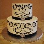 880 Wedding BC Round 2-tier Black Piping Base Borders Bling Brooches B_W Cutie