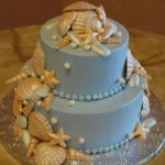 Blue Buttercream with Cascading Handmade Shells