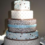 Custom Blue and Brown Wedding Cake to Ruby Hill