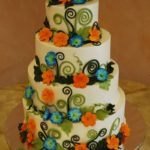Custom Swirls with Blue and Orange Blossoms