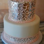 Silver Leaf with Pink piping