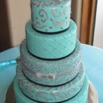 Turquoise Fondant with Silver & Black Accents