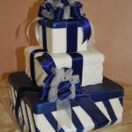 White Fondant Boxes with Navy Accents